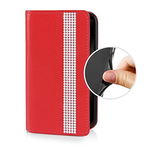 Für Apple iPhone --- 7 --- eSPee Hülle Schutzhülle Wallet Flip Case Schwarz mit Swarovski® Kristallen Borte UNZERBRECHLICHER Silikon Schale / Bumper und Magnetverschluss Rot