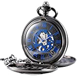 Treeweto orologio da tasca nero mezza Hunter doppio di scheletro meccanico numeri romani blu orologio da taschino