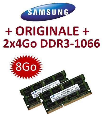 Samsung Original-Set 8 GB Speicher, Dual-Channel, 2 x 4 GB, 204 pin, DDR3 – 1066 PC3 – 8500 SO-DIMM (2 x m471b5273bh1-cf8) für Laptops, Computer, Apple MacBook, MacBook Pro, iMac, MAC MINI (2009/2010)