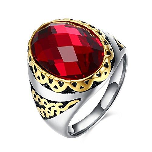 LALOPEZ Herren Titan Edelstahl Emerald Ruby Engagement Onyx Band Ringe Verstellbar (Herren Emerald Ring)