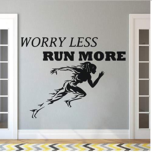 Gym Wandaufkleber Sport Laufen Frauen Wandtattoo Motivation Zitat Sorge Weniger Laufen Mehr Tapete Fitness Wand Poster 57x44 cm