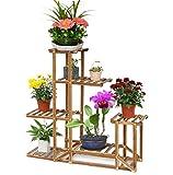 Malayas®Blumenregal Blumen Rack aus Massivholz mit mehr Pflanzentreppe für Innen-Balkon Wohzimmer Outdoor Garten Dekor Blumenständer 96x95x25cm Braun