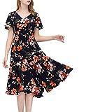 GardenWed Damen Übergröße Strandkleid Blumen Boho Lang V-Ausschnitt Abendkleid Partykleid Black Orange Flower 3XL