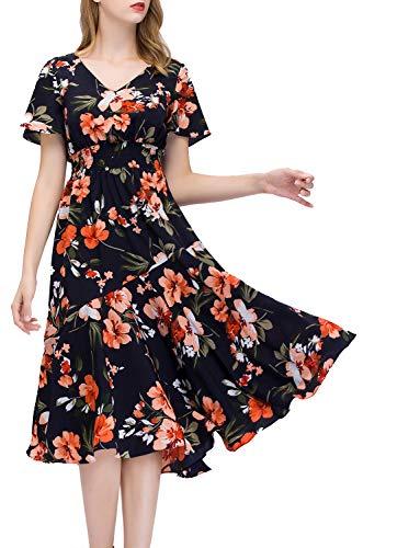 GardenWed Sommerkleider Damen Kurzarm V-Ausschnitt Blumen Strandkleider Partykleid Abendkleid Black...