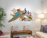 #3: Decal Design Wall Sticker for Living Room Peacock Birds Nature (PVC Vinyl, Multicolor)