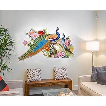 Decals Design Wall Sticker For Living Room Peacock Birds Nature (Pvc Vinyl, Multicolor)