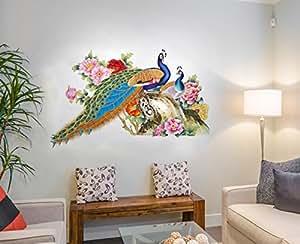 ... Decals Design U0027Peacock Birds Natureu0027 Wall Sticker (PVC Vinyl, 60 Cm X  90 Cm