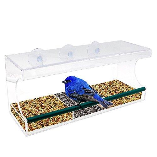 Vogelhaus Fenster, Vogelhäuschen, Vogelfutterhaus, Vogelfutterstation mit Wasserschale, 64 Drainagelöcher, 3 Saugnäpfe und Abnehmbar Tablett- Transparent by ApoGo