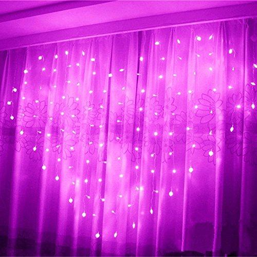 Eplze LED Rideau de Lumière 36pcs Coeur d'amour Autour de 2m x 1.5m 124 LEDs 8 Modes Commandables Résistant à l'eau Lumière Cordes pour la Fête de Noël Mariage Festival (Rose)