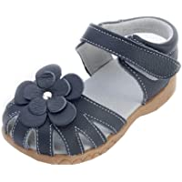 Kinloy Girls Genuine Leather Closed Toe Summer Flat Sandals Casual Flower Beach Velcro Shoes for Toddler Baby Child…