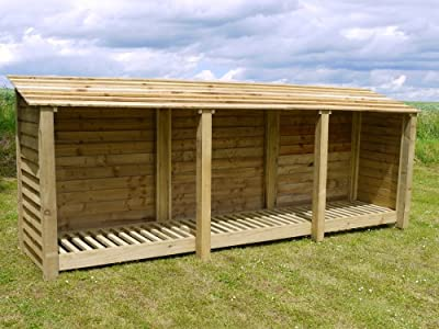 The Empingham Wooden Log Store, 11ft wide X 4ft high hand made from heavy duty pressure treated timber.