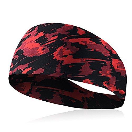 Seasaleshop Damen Sport Stirnbänder Athletic Stirnband Feuchtigkeitstransport Workout Schweißbänder für Laufen, Crossfit, Yoga und Fahrradhelm Freundlich (Rot)