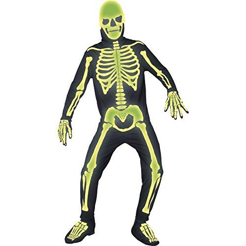 Dunkeln Skelett Leuchtet Kostüme Im (Smiffys, Herren Skelett Kostüm, Jumpsuit mit Kapuze, Handschuhe und Überschuhe, Größe: L,)