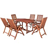 ArtLife Akazienholz Sitzgruppe Bali für 6 Personen mit ausziehbarem Tisch und 5-Fach Verstellbaren Stühlen