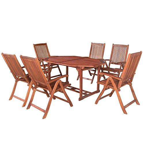 ArtLife Akazienholz Sitzgruppe Bali für 6 Personen mit ausziehbarem Tisch und 5-Fach Verstellbaren...