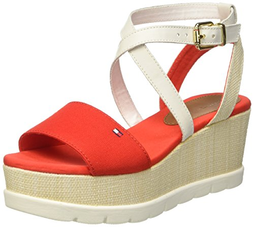 Tommy Hilfiger V1285ENICE 1D, Scarpe Col Tacco con Cinturino a T Donna Rosso (Fiery Red 629)