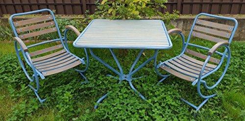 Casa Padrino Jugendstil Gartenmöbel Set Vintage Hellblau/Braun - Handgefertigtes 3 Teiliges...
