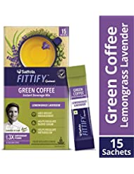 Saffola FITTIFY Gourmet Green Coffee Instant Beverage Mix, Lemongrass Lavender, 15 Sachets, 30g