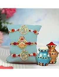 Tied Ribbons Set Of 3 Premium Rakhi For Brother With Rakshabandhan Special Card