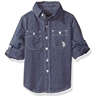 U.S. Polo Assn.. Little Boys' Long Sleeve Solid Shirt, Marled Navy, 5/6