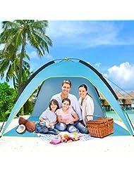 Sumerice Tienda de campaña Familiar para Playa y Parasol, Refugio de cabaña UV, Camping, Senderismo, Pesca, Ligera, portátil, Transpirable y Resistente al Viento, Plegable