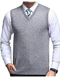 AnyuA Hombre Chaleco de Suéter Sin Mangas Sólido Jersey de Punto