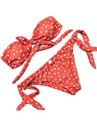 BBring Womens Sexy Two Piece Off Shoulder Bikini Sets Triangle Padded Polk Dots Bowknot Swimwear Swimsuits
