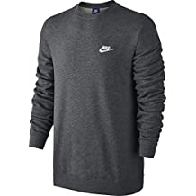Nike M NSW CRW FT Club Sudadera, Hombre, Gris (Charcoal Heathr / White), S