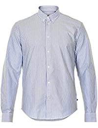 MATINIQUE Hommes Oxford Lourd De Jude Long Sleeved Shirt White/blue