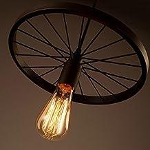 Vintage Retro Metal Iluminación Colgante - 60W E27 Art Wheel Modelo de Lámpara de Techo para
