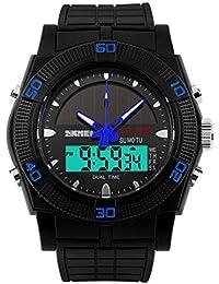 cefc5036f03e Skmei hombre reloj mecanismo de cuarzo solar dual tiempo Sports Rotatale  bisel impermeable reloj de pulsera
