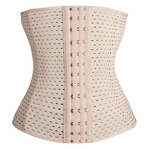 *Damen Korsett Corsage Waist-Trainer Cincher mit 4 Stahlstäbchen Dessous Lingerie Unterbrustkorsett Korsage Bauchweggürtel Shapewear (skin, XL)*