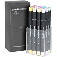 Stylefile Pastel Plus - Pennarelli con punta doppia, 12 pezzi, con album incluso