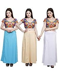 Pistaa combo of 3 Women's Cotton Best Indian Readymade Inskirt Saree petticoats