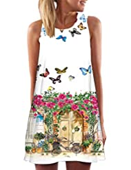 FEITONG Mujer Vintage Boho verano vestido sin mangas Beach Printed Mini vestido corto (Multicolour, XL)