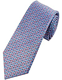 Collar and Cuffs London - High Quality Handmade Tie - 100% Pure Silk - Luxury Fashion Sky Blue Matrix With Pink, Grey and Red Mini Squares