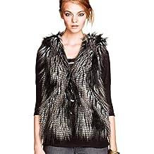 YiLianDa Mujeres Faux Fur Chaqueta Sin Mangas Chaleco Corto Piel de  imitación Gilet Outwear e7cd35eb674f