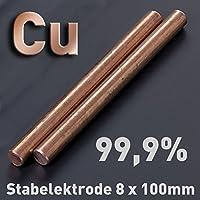 Cobre de varilla de ánodo/electrodo (8 x 100 mm) para cobre electrolitos/galvanoplástica 10 cm Cu 99,9