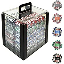 Trademark 1000 4 Aces with Denominations Poker Chips In Acrylic Carrier, Clear
