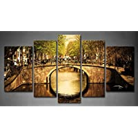5panel Wall Art Amsterdam Holland Romantic Bridge over Canal Old Town Tree River veicolo painting PICTURES Print on canvas Architecture The Picture for home decor Piece cornice in legno pronta da appendere