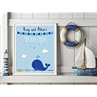 Kids Bathroom Picture - Personalised Baby Boy Gifts - Childrens Bathroom Wall Art - Whale Nursery