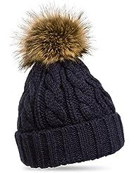 CASPAR - Bonnet fourré hiver pour femme - bonnet tricoté avec torsades et gros pompon en fourrure - plusieurs coloris - MU104