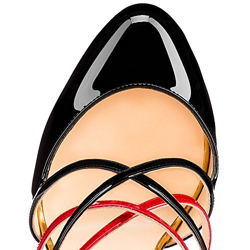 uBeauty Damen High Heels Cross Strap Klassische Pumps Geschlossene Round Toe Übergröße Schuhe Mehrfarbig