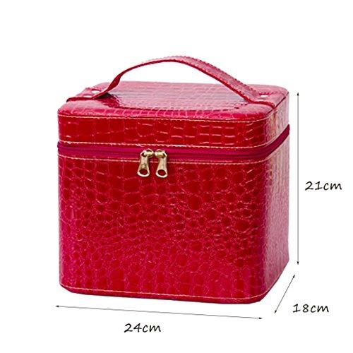 CLOTHES- La versione coreana impermeabilizza la cassa cosmetica della scatola di immagazzinaggio della casella di cuoio di grande capacità ( Colore : Rosso ) Rosso