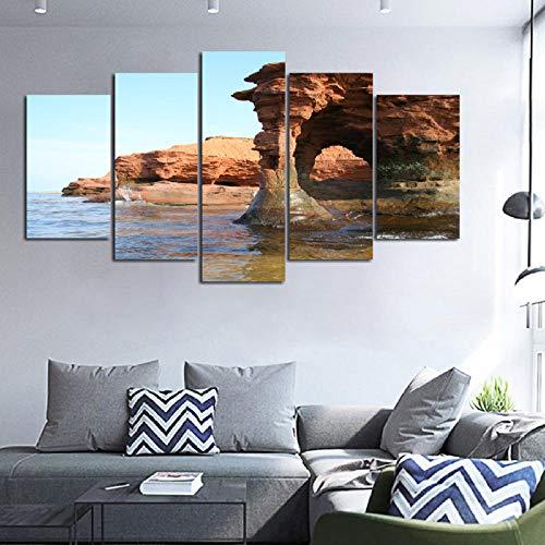 Zum Aufhängen bereit - 5 Stück Gedruckt Leinwand Malerei Prince Island sandstein bogen Kanada Landschaft wohnkultur druckplakat gerahmte wandkunst - Bild auf Leinwand -