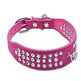 Hundehalsband Halsbänder Wildleder Leder mit 3-Linie Strass O-Ring für Anhänger in Rot Blau Lila Pink Schwarz XS S M L für kleine mittlere Hunde Welpen, Rosa M