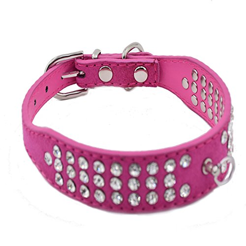 Hundehalsband Halsbänder Wildleder Leder mit 3-Linie Strass O-Ring für Anhänger in Rot Blau Lila Pink Schwarz XS S M L für kleine mittlere Hunde Welpen, Rosa M (Luxus-leder-hundehalsbänder)