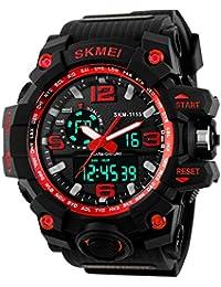 Beswlz de grande Unisex Reloj Deportivo multifunción digital LED Dual tiempo relojes con 50m Wateproof S-shock reloj de pulsera (rojo)