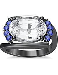 Silvernshine 4Ct Oval & Round Cut Sim Tanzanite Diamonds 18K Black Gold Plated Engagement Ring