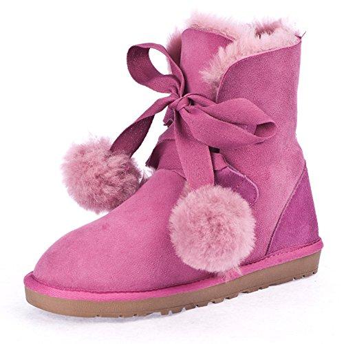 Stivali di pelliccia di pecora australiana/Stivali da neve/ caldo cotone scarpe da donna-D Lunghezza (Australiano Moto)
